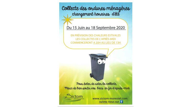 Collecte des ordures ménagères - Changement horaires d'été