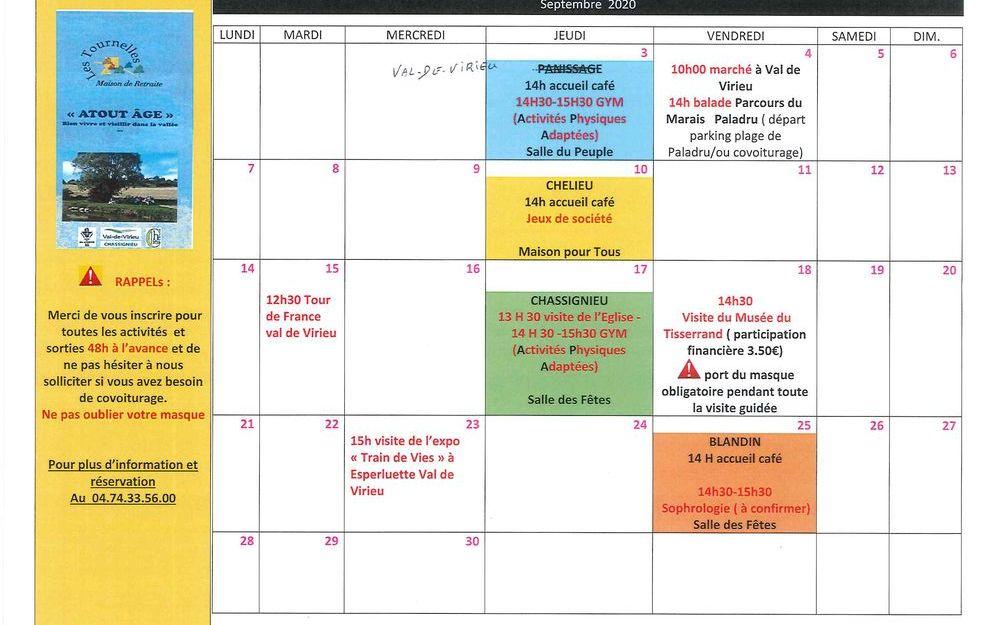 """Calendrier des activités de """"ATOUT AGE"""" pour le mois de septembre 2020"""