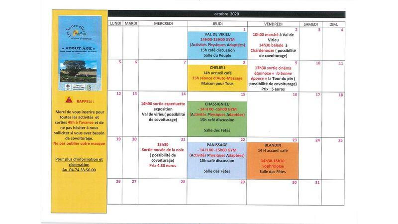 """Calendrier des activités de """"ATOUT AGE"""" pour le mois d'octobre 2020"""