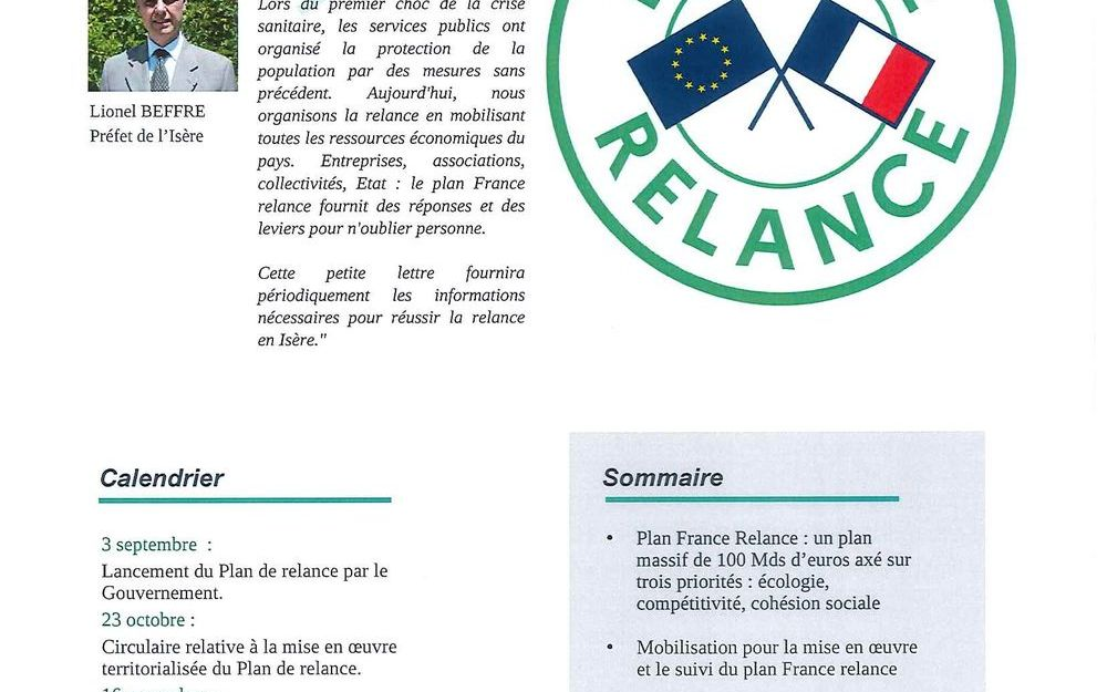 Plan de relance en Isère