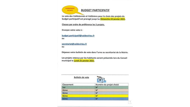 Budget participatif (changement de date)