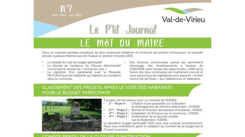 Le p'tit journal n°7 - Avril-Mai-Juin 2021