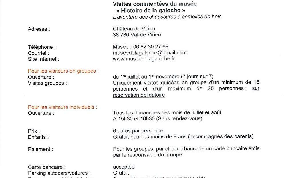 """Musée """"HISTOIRE DE LA GALOCHE"""" Présentation offres touristiques - Saison 2021"""