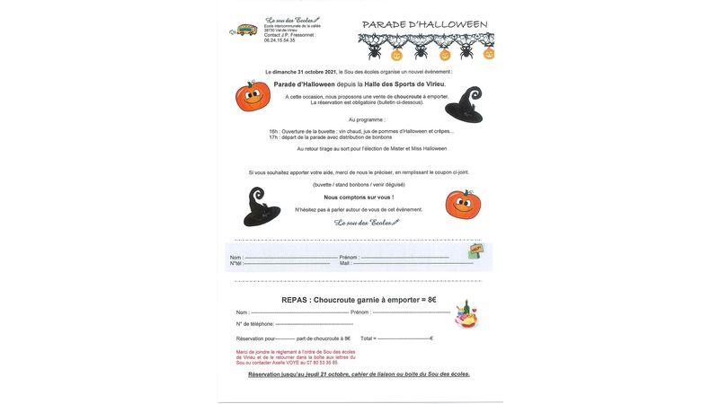 Parade d'Halloween et choucroute à emporter