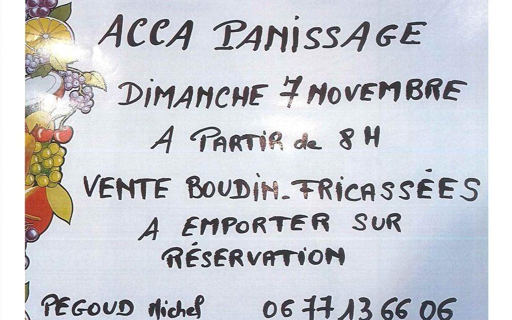 ACCA Panissage - Vente boudins fricassées à emporter sur réservation